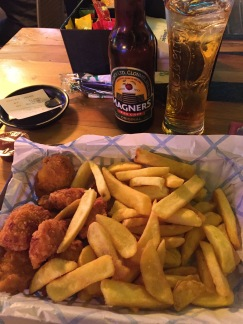 Ending my fantastic trip to Disneyland Paris with some chicken nuggets (I told you I missed them), fries, and cider! Enjoyed my meal at a lively outdoor sports pub in Disney Springs. I got to watch rugby and FaceTime some people back at home. What a great trip.